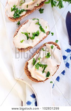 Rye Bread Slices With Chicken Pate Spread