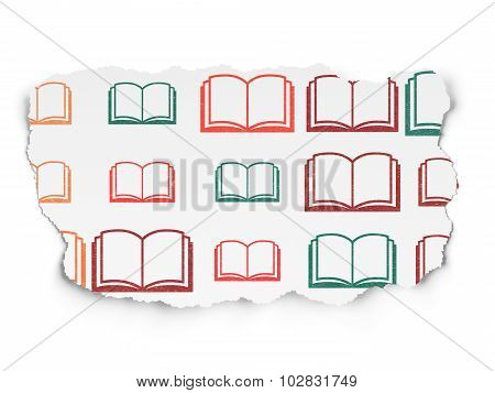 Science concept: Book icons on Torn Paper background
