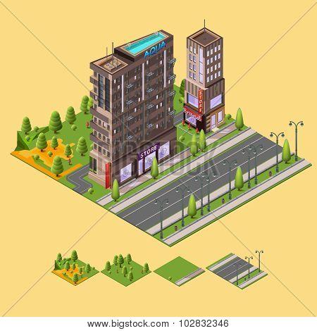 Isometric city concept.