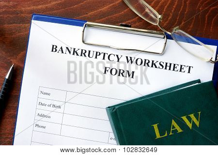 Bankruptcy worksheet form