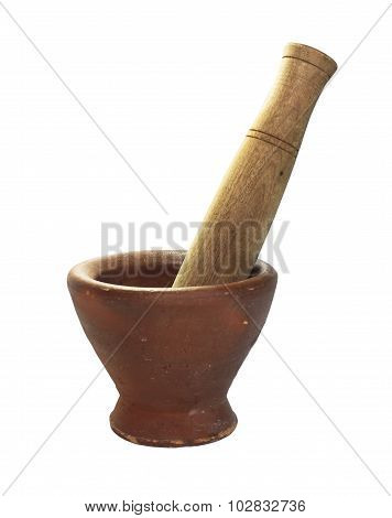Stone Mortar And Wood Pestle