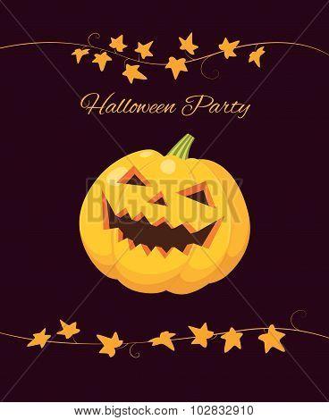 Halloween Party Pumpkin On Black