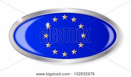E.U. Flag Oval Button