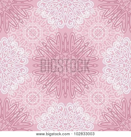 Pink Seamless Pattern With Tracery Ornaments