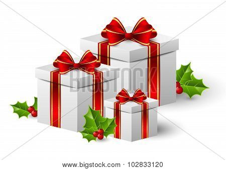 Christmas gift boxes with holly berry