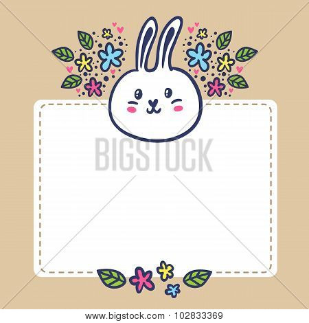 Card Background With Rabbit, Flowers And Space For Text