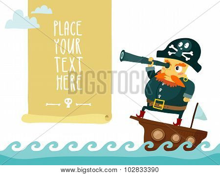 Pirate With Spyglass On Ship