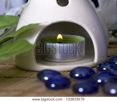 Oil Burner With A Candle