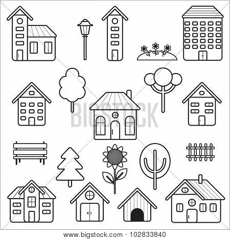 Exterior outline icons