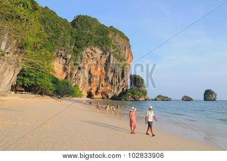 Tourists Enjoy On The Beach In Phuket