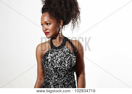 Beauty Black Woman With Curly Hair Wearing Coctail Dress