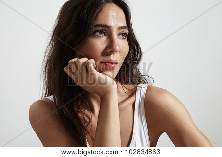 Spanish Woman Watching Aside
