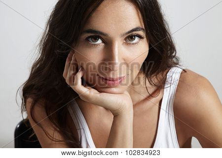 Closeup Portrait Beauty Woman With Whide Open Eyes