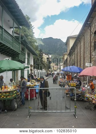 Traditional Fair At Historic Center Of Bogota Colombia