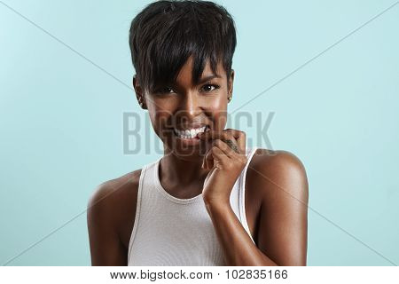 Beauty Woman Bites Her Hails