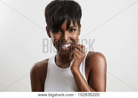 Beauty Black Woman Bites Nails