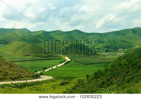 Road in the mountains of North Korea