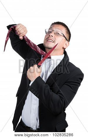 Businessman cut his tie