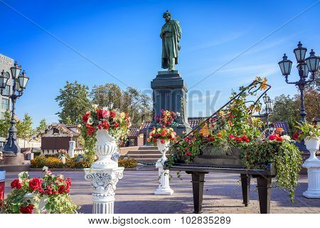 Moscow, Russia - September 18, 2015: Monument To Russian Poet Alexander Pushkin In Moscow's Pushkin