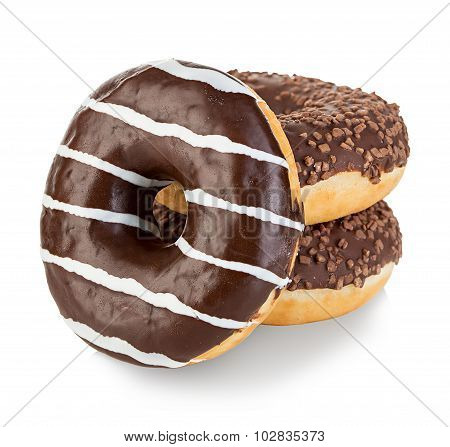 Donuts Isolated Close-up On A White Background
