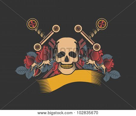 Vintage Skull With Sword And Wings Emblem