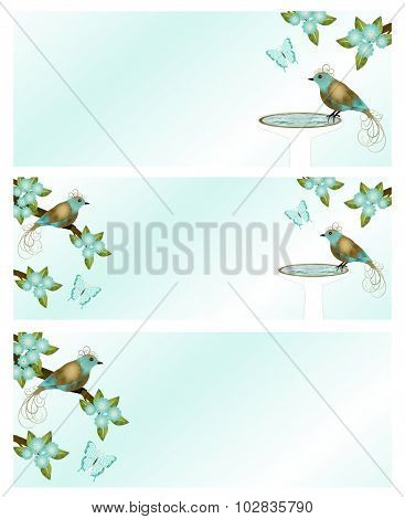 Gold and Teal Bird Banners