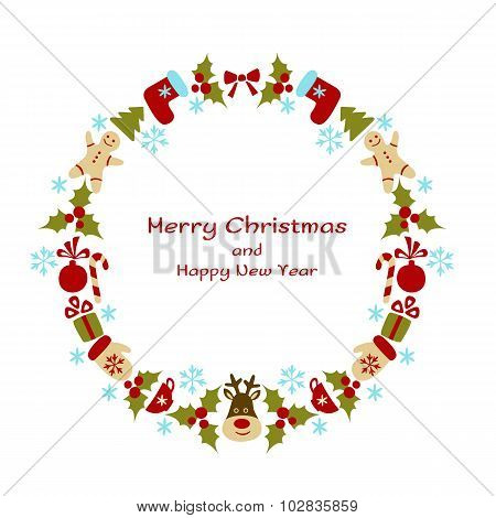 Christmas and New Year vector wreath