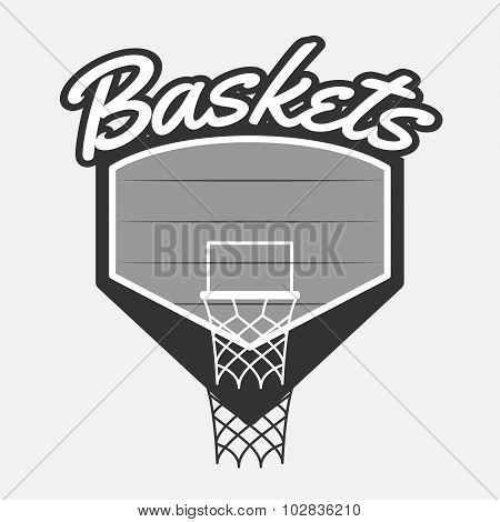 Black and white Basketball Label with Basket