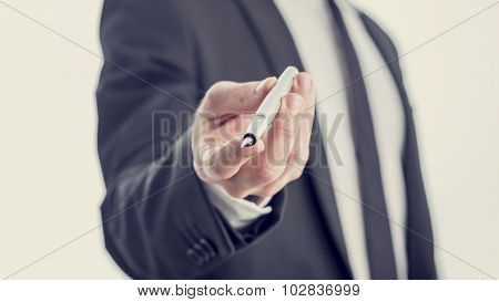 Closeup View Of Professor, Businessman Or Politician Offering You An Ink Pen