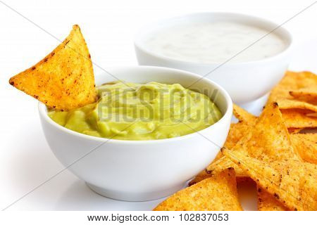 Tortilla chip and dip.
