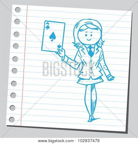 Businesswoman with ace card