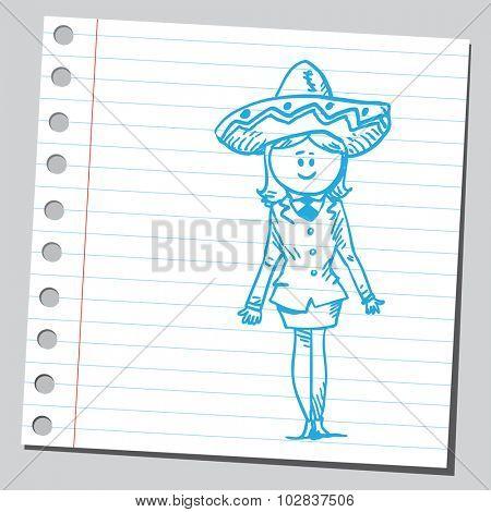 Businesswoman with sombrero