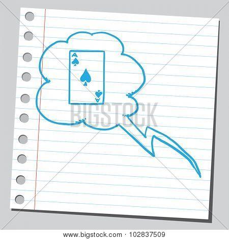 Ace card in speech bubble
