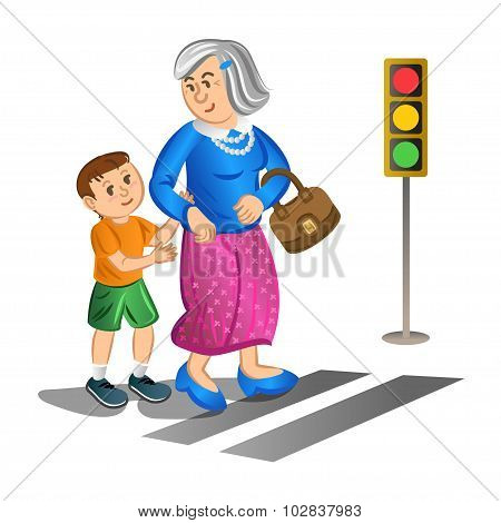 Boy Helping Old Lady Cross The Street. Vector Illustration.