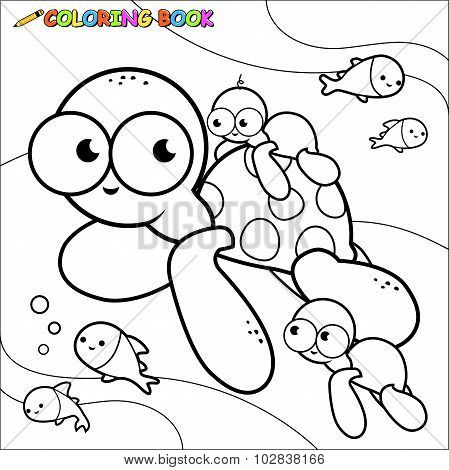 Vector Illustration of  a black and white outline image of sea turtles swimming underwater. Coloring book page.