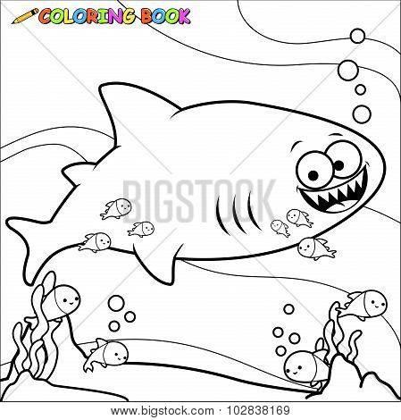Coloring book shark underwater