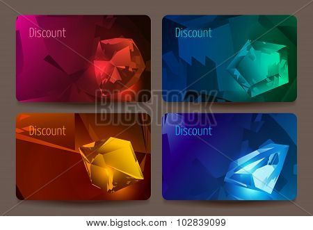 A set of discount cards with precious stones.