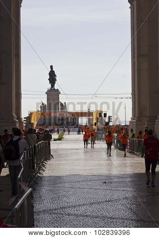 The Finish Line Of Lisbon Marathon