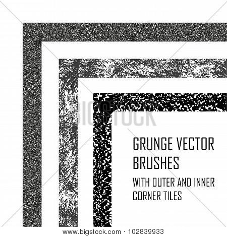 Grunge Borders With Rough Texture.