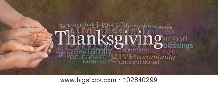 Thanksgiving Word Cloud Website Banner