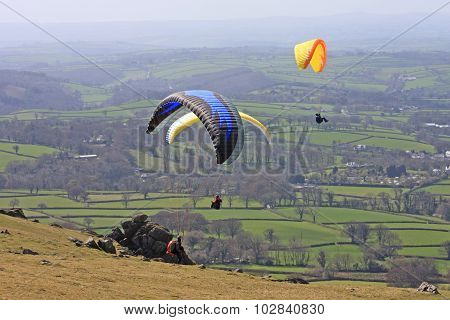 Paragliders above Dartmoor