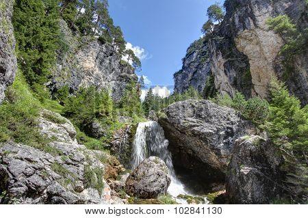 Ciastlins Waterfall, Val De Ciastlins, Dolomites, Sudtirol