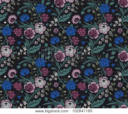 Colorful seamless pattern with a vintage flower bouquets carnations and chrysanthemums