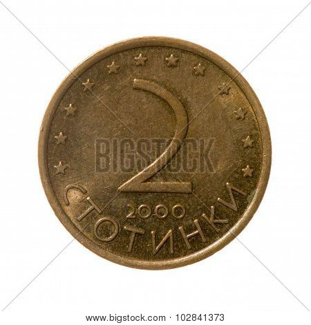 Coin Two Stotinki Bulgaria Isolated On White Background. Top View