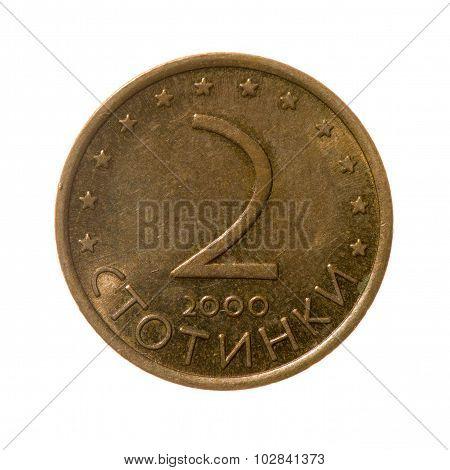 Coin Two Stotinki Bulgaria Isolated On White Background. Top View