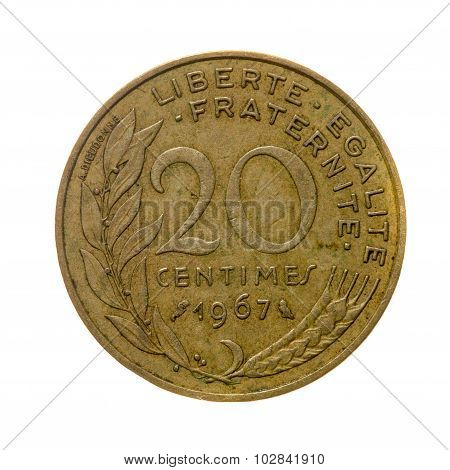 Coin Twenty Centimes France Isolated On A White Background. Top View