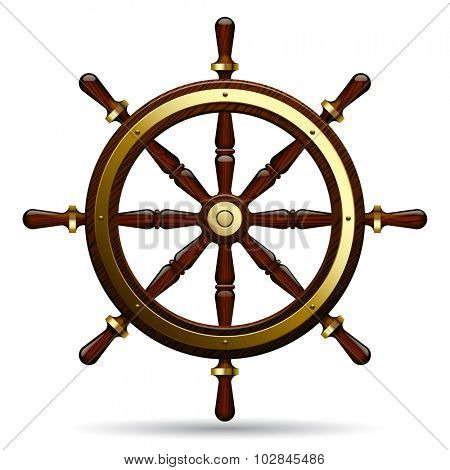 Vintage steering wheel on the white background.  Navigation symbol