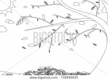 Coloring Book - Autumn Landscape With Tree With Falling Leaves
