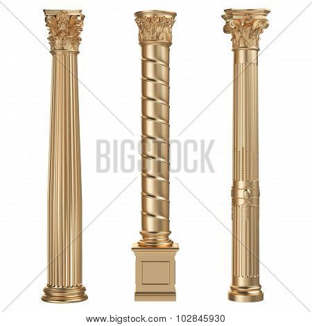 Golden Columns Isolated On White Background