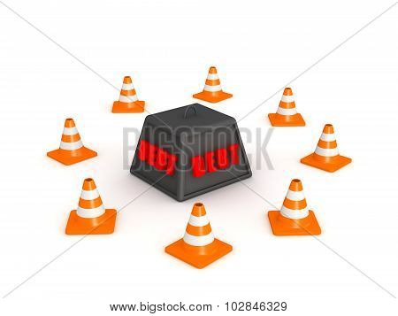 3D Debt Weight Surrounded By Orange Cones
